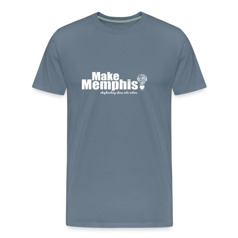Men's Blue T-Shirt / White Logo - Men's Premium T-Shirt