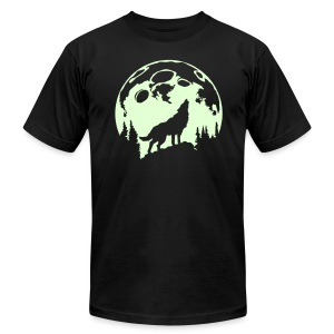 Glow-In-The-Dark Wolf Howling at the Moon - Men's Fine Jersey T-Shirt