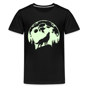 Glow-In-The-Dark Wolf Howling at the Moon - Kids' Premium T-Shirt