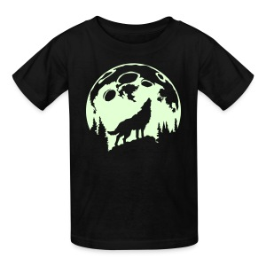Glow-In-The-Dark Wolf Howling at the Moon - Kids' T-Shirt