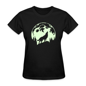 Glow-In-The-Dark Wolf Howling at the Moon - Women's T-Shirt