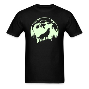 Glow-In-The-Dark Wolf Howling at the Moon - Men's T-Shirt