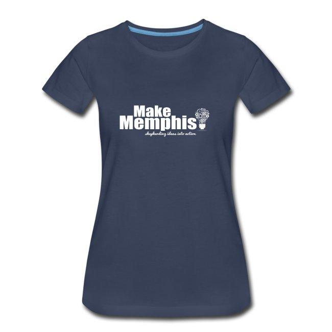 Women's Navy T-Shirt / White Logo