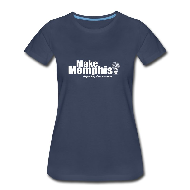 Women's Navy T-Shirt / White Logo - Women's Premium T-Shirt