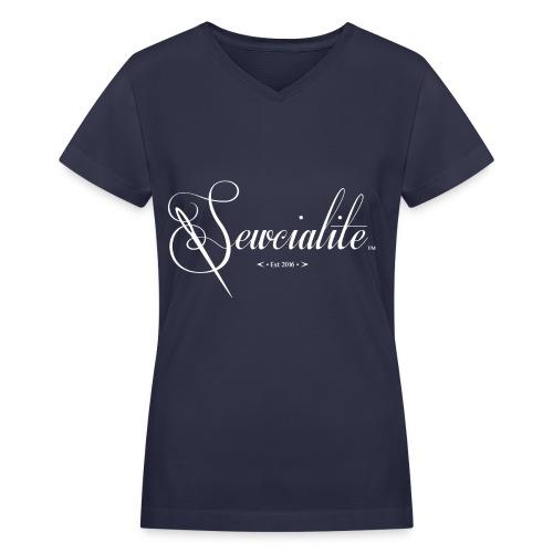 White Letters Navy Blue Shirt Sewcialite V-Neck Tee - Women's V-Neck T-Shirt