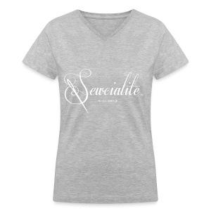 White Letters Gray Shirt Sewcialite V-Neck Tee - Women's V-Neck T-Shirt