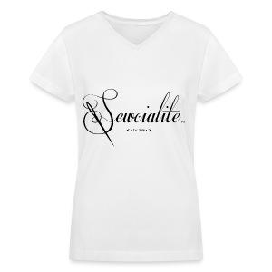 Black Letters White Shirt Sewcialite V-Neck Tee - Women's V-Neck T-Shirt