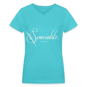 White Letters Aqua Shirt Sewcialite V-Neck Tee - Women's V-Neck T-Shirt