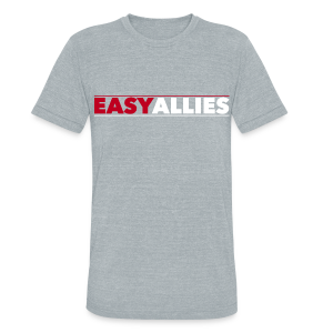 Gray Easy Allies Red Logo T-Shirt - Unisex Tri-Blend T-Shirt by American Apparel