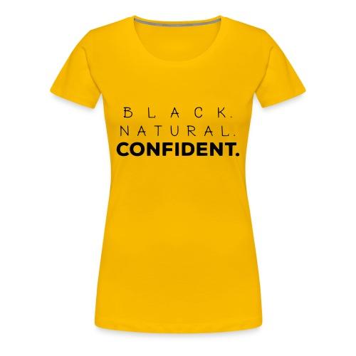 Black Natural Confident Yellow Tee - Women's Premium T-Shirt