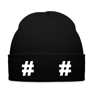 HashTag hat - Knit Cap with Cuff Print