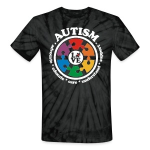LOVE Autism Awareness Drk T-Shirts - Unisex Tie Dye T-Shirt