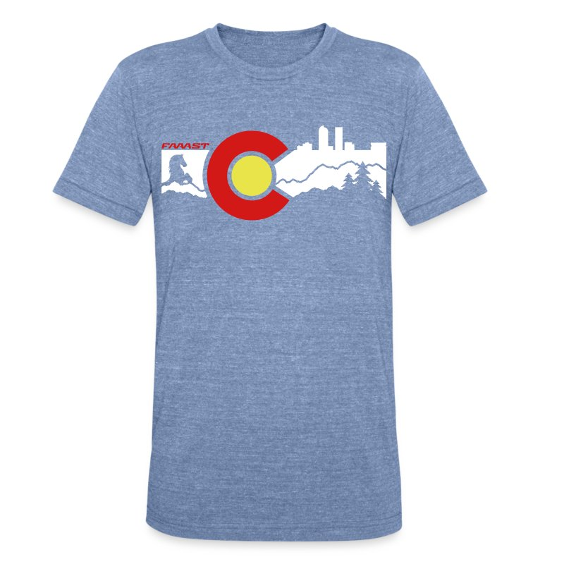 Unisex Tee Denver Skyline - Unisex Tri-Blend T-Shirt by American Apparel