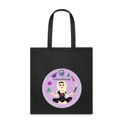 Allie Stars & Witchy Tools #ModernWitchLife - Canvas Tote Purple - Tote Bag