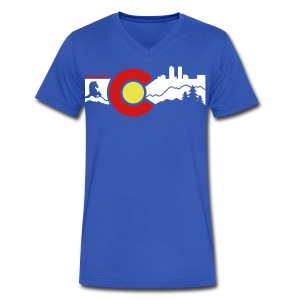Men's V-Neck Denver Skyline - Men's V-Neck T-Shirt by Canvas