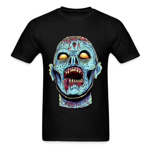 Zombie Head Blue Regular Men's T-Shirt - Men's T-Shirt
