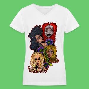 Lady Collage - Women's V-Neck T-Shirt