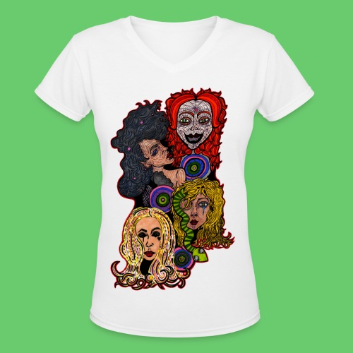 Lady Collage - Women's V-Neck T-Shirt