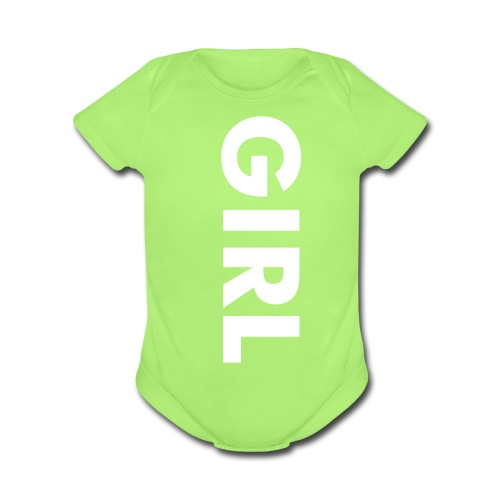 It's A Girl Green  - Organic Short Sleeve Baby Bodysuit