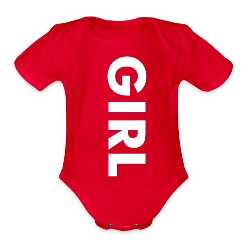 It's A Girl Red - Organic Short Sleeve Baby Bodysuit