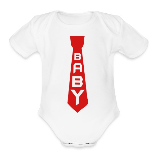 Red Tie  - Organic Short Sleeve Baby Bodysuit