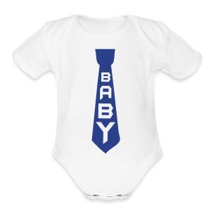 Blue Tie  - Short Sleeve Baby Bodysuit