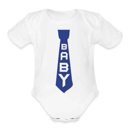 Blue Tie  - Organic Short Sleeve Baby Bodysuit