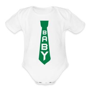 Green Tie  - Short Sleeve Baby Bodysuit