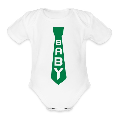 Green Tie  - Organic Short Sleeve Baby Bodysuit