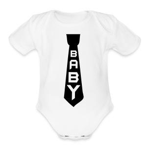 Black Tie  - Short Sleeve Baby Bodysuit