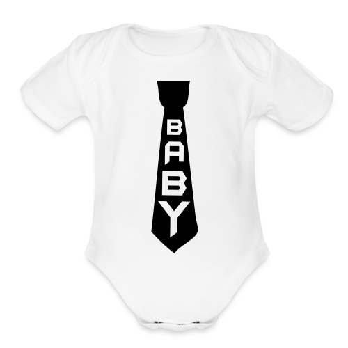 Black Tie  - Organic Short Sleeve Baby Bodysuit
