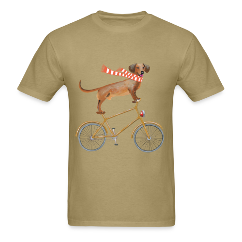 Daschund on bicycle - Men's T-Shirt