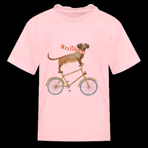 Daschund on bicycle - Kids' T-Shirt