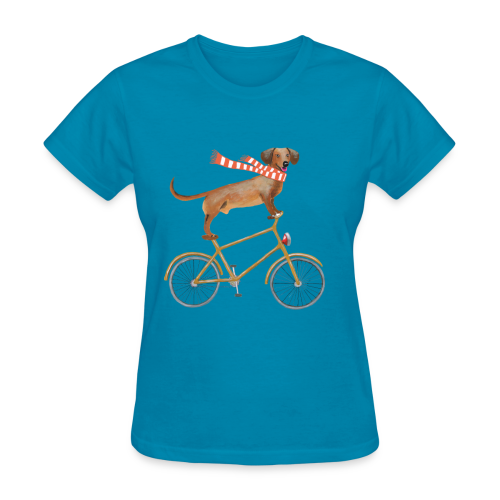 Daschund on bicycle - Women's T-Shirt