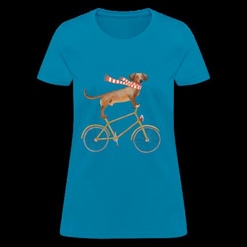 Daschund on bicycle - Women's T-Shirt