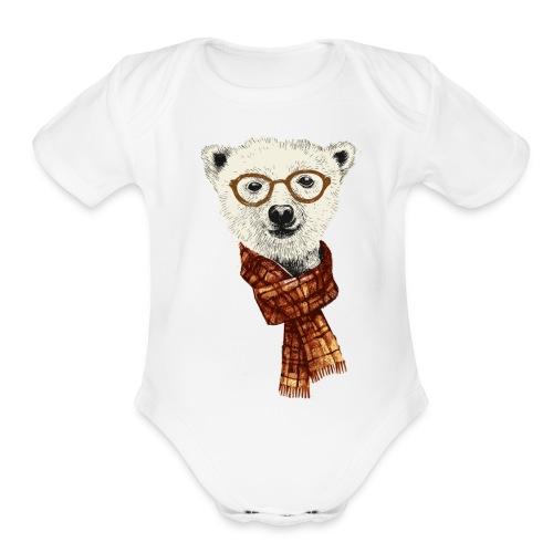 Bear Scarf - Organic Short Sleeve Baby Bodysuit