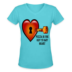 Pizza Is The Key To My Heart Women's Tee - Women's V-Neck T-Shirt