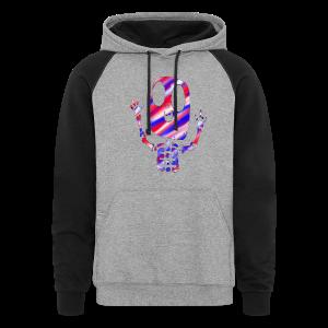 Patriotic Skeleton Color Block Hoodie - Colorblock Hoodie