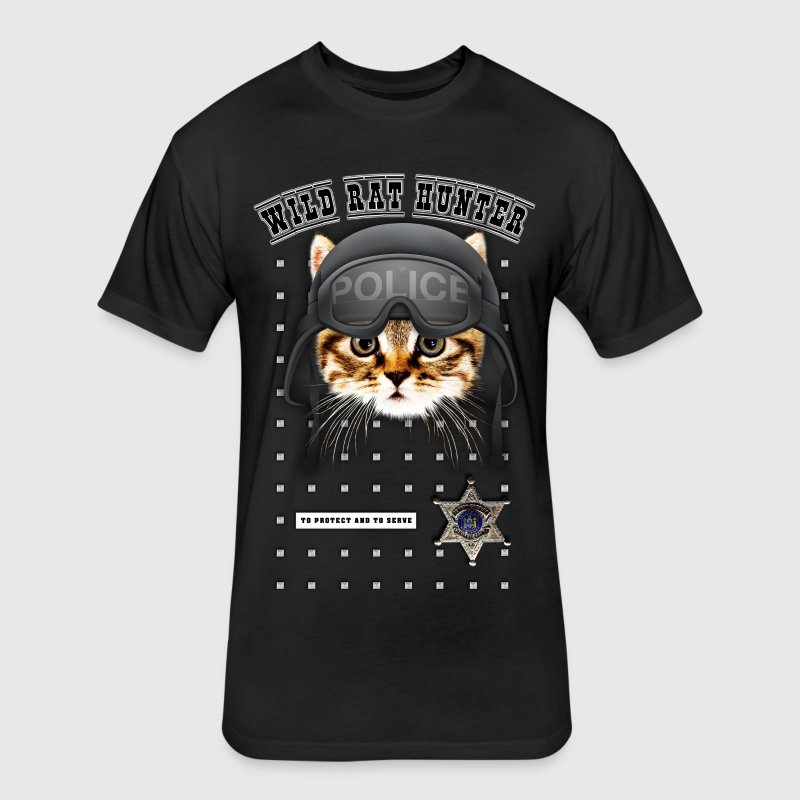 TShort Wild cop-cat V1 - Fitted Cotton/Poly T-Shirt by Next Level
