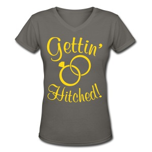 Gettin Hitched. Southern Wedding Proposal Shirt - Women's V-Neck T-Shirt