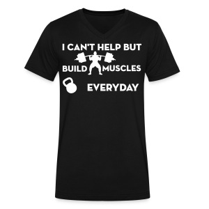 Black/White Build Muscles Everyday v-neck shirt - Men's V-Neck T-Shirt by Canvas