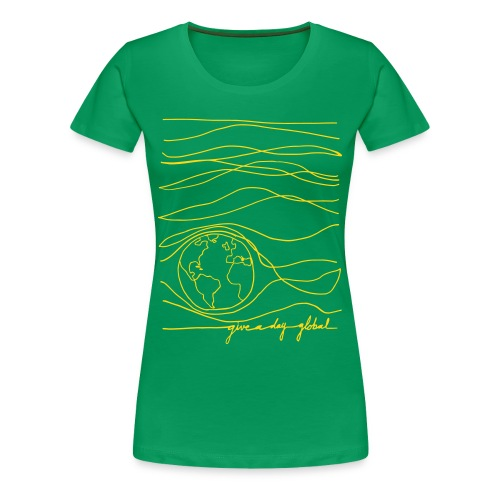 Women's - Interconnected Lines - gold on green - Women's Premium T-Shirt