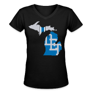 T-Shirts ~ Women's V-Neck T-Shirt ~ Lions Country - Michigan
