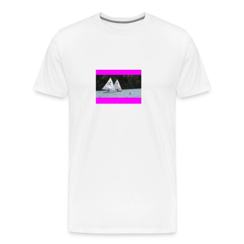 Pink Racing Stripes on white - Men's Premium T-Shirt