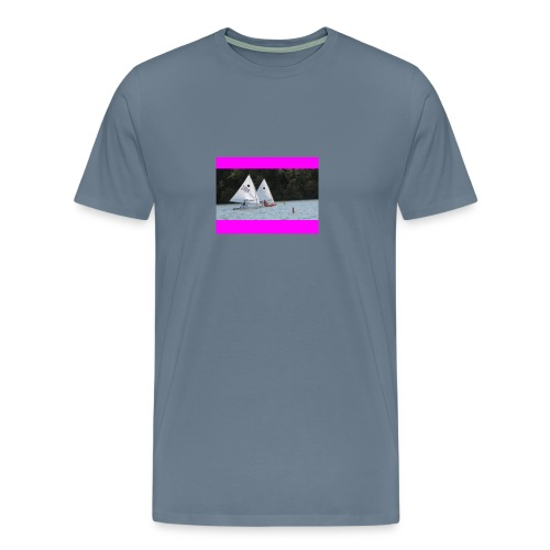 Pink Racing Stripes on Steel Blue - Men's Premium T-Shirt