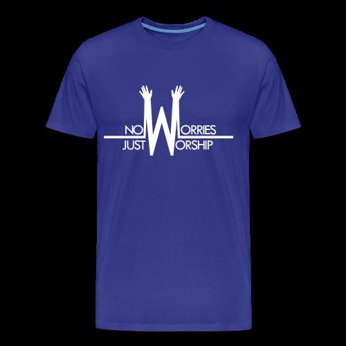 Men's T-shirt - White on Blue - Men's Premium T-Shirt