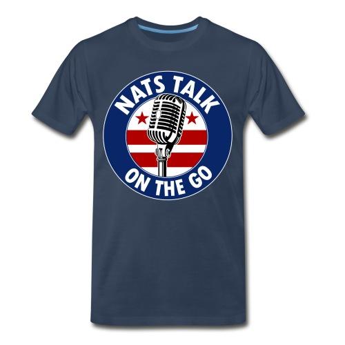 Large Mic and DC Flag (Navy) - Men's Premium T-Shirt