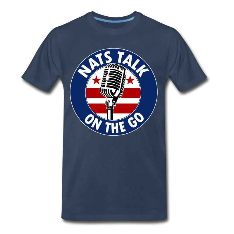 Large Mic and DC Flag (Navy) - Men's Premium T-Shirt
