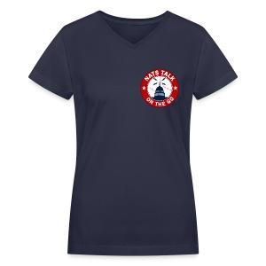 Official NTOTG logo v-neck (Navy - women) - Women's V-Neck T-Shirt