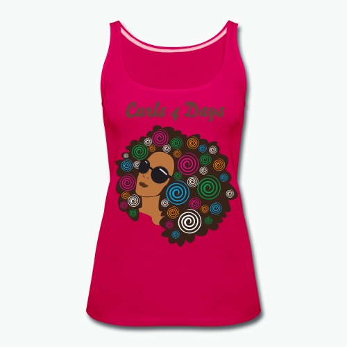 Ladies Tank - Hot Pink - Curls 4 Days - Brown - Women's Premium Tank Top